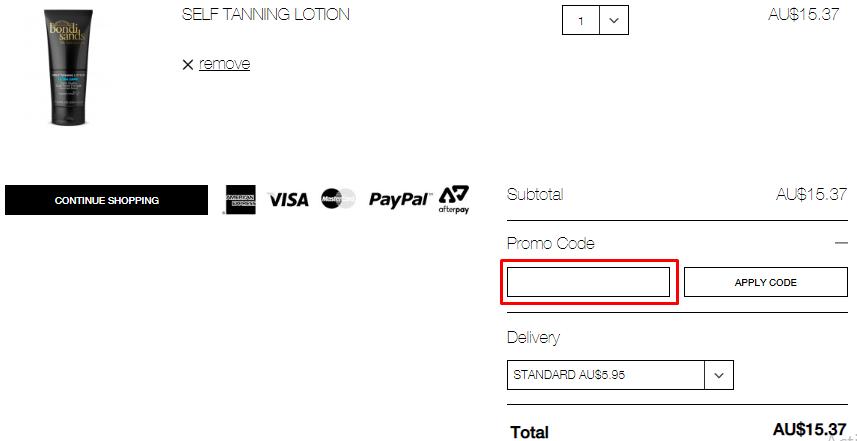 How do I use my Bondi Sands coupon code?