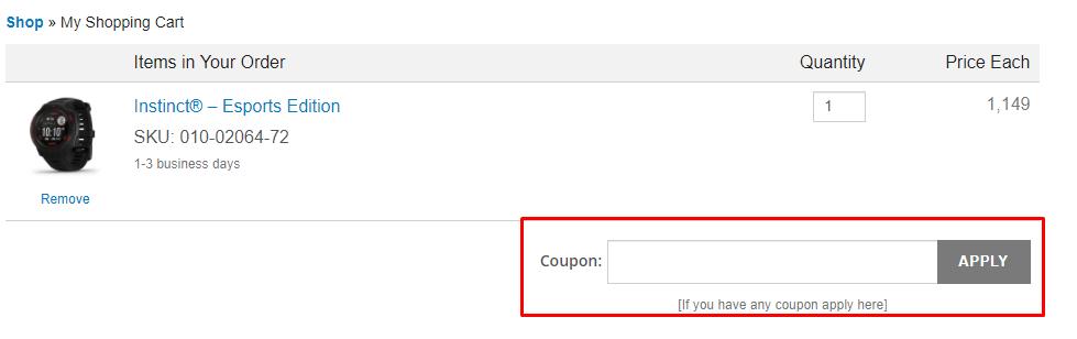 How do I use my Garmin coupon code?