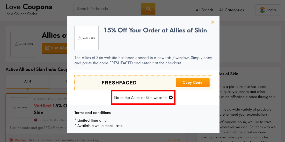 Allies of Skin IN Get Coupon