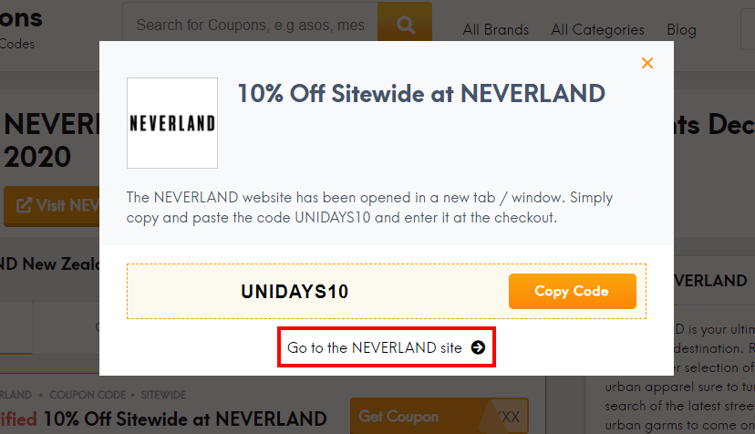 how to use NEVERLAND coupon code?