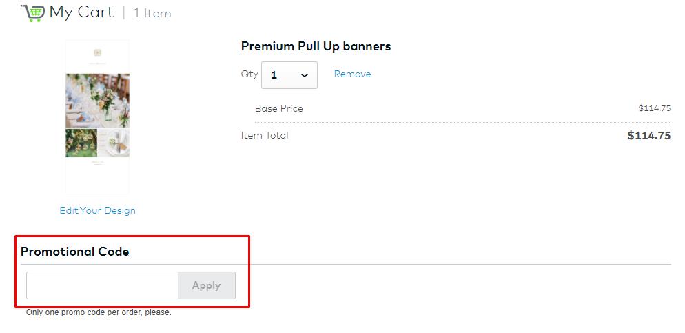 How do I use my Vistaprint promotional code?