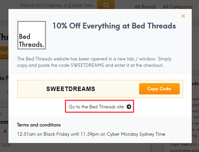 Go to Bed Threads site