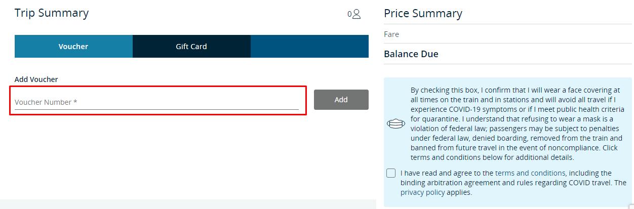How do I use my Amtrak voucher code?