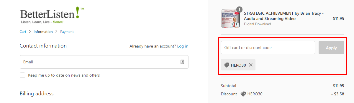How do I use my BetterListen discount code?