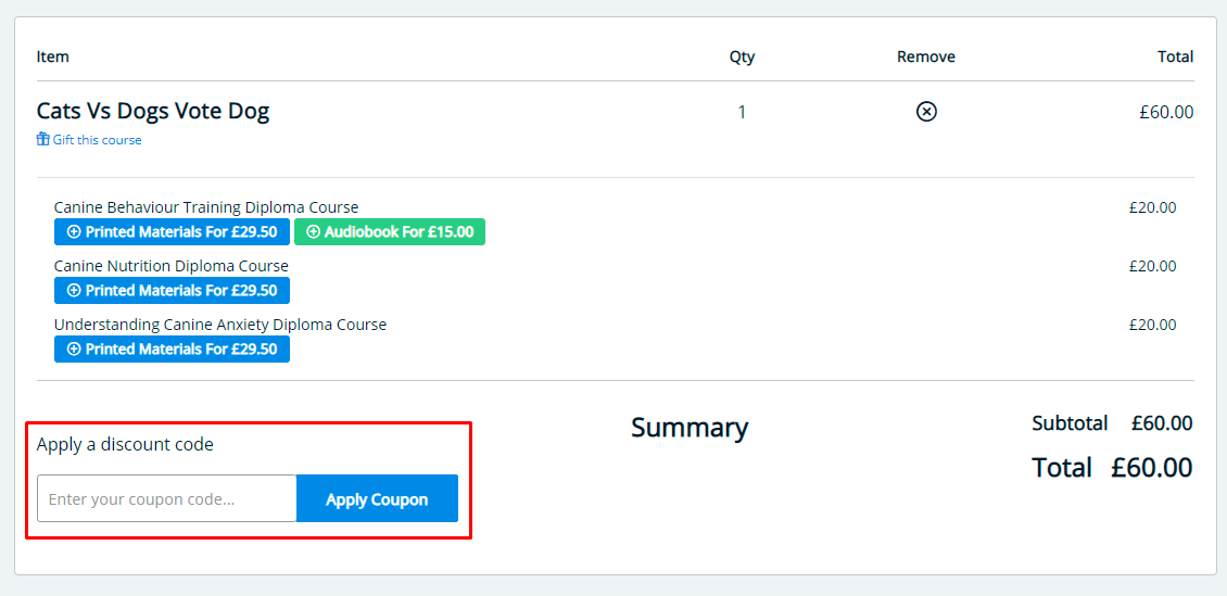 How do I use my Centre of Excellence discount code?