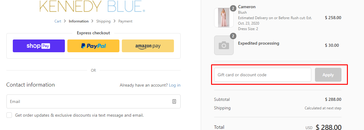 How do I use my Kennedy Blue discount code?