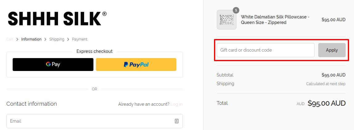 How do I use my Shhh Silk discount code?