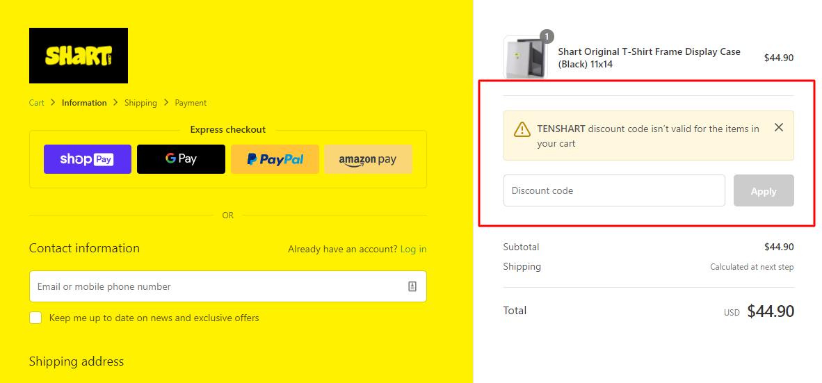 How do I use my Shart discount code?