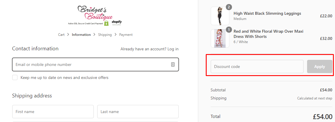 How do I use my Bridget's Boutique coupon code?