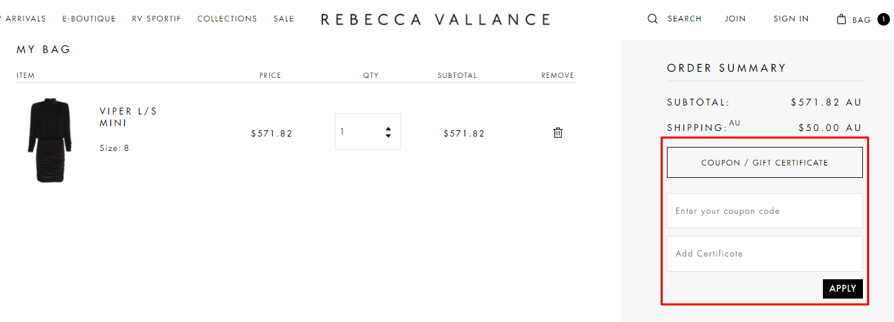 How do I use my Rebecca Vallance coupon code?