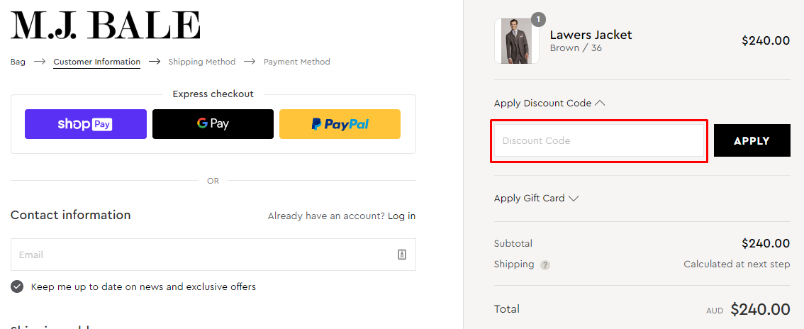 How do I use my M.J.Bale coupon code?