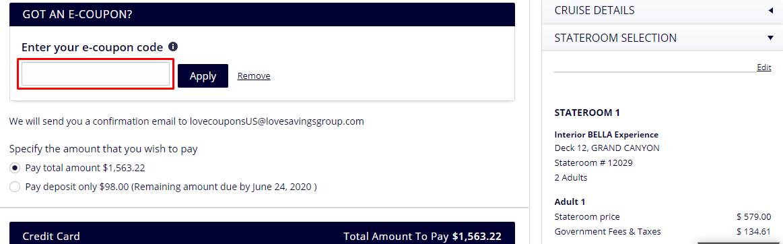 How do I use my MSC Cruises coupon code?