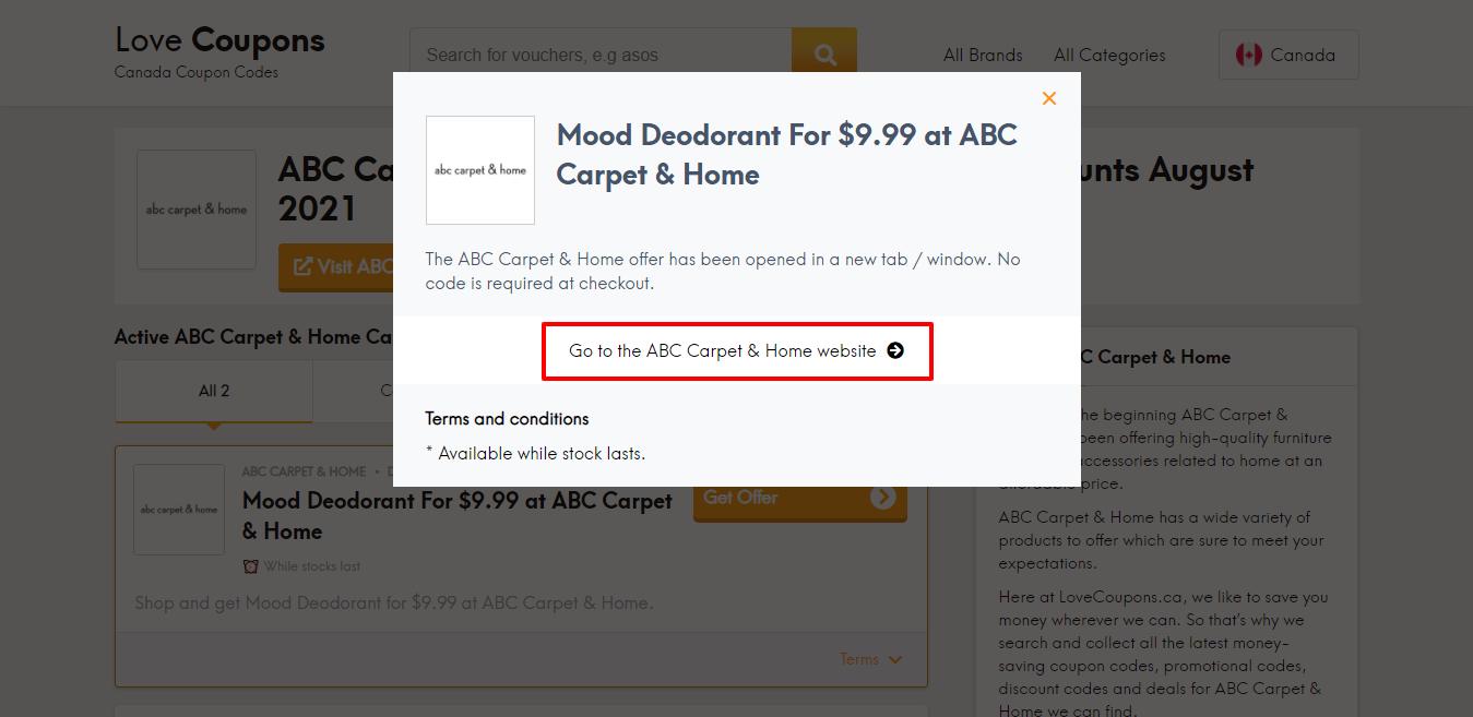 ABC Carpet & Home website