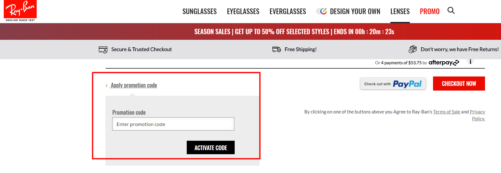 How do I use my Ray-Ban discount code?