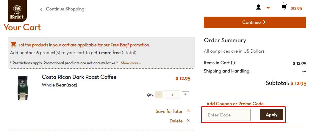 How do I use my Cafe Britt coupon code?