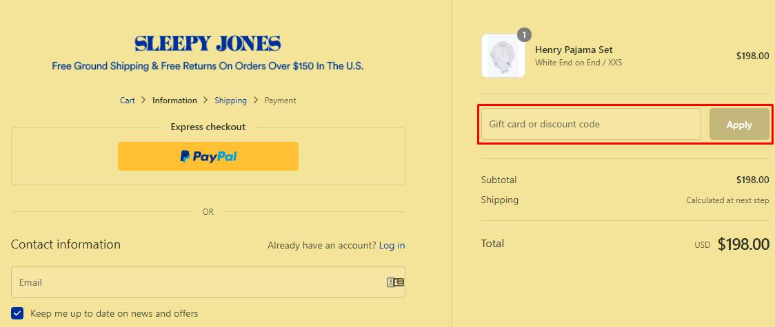 How do I use my Sleepy Jones discount code?