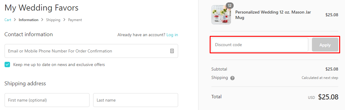 How do I use my myweddingfavors discount code?