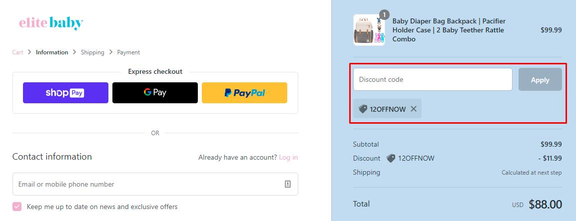 How do I use my EliteBaby discount code?