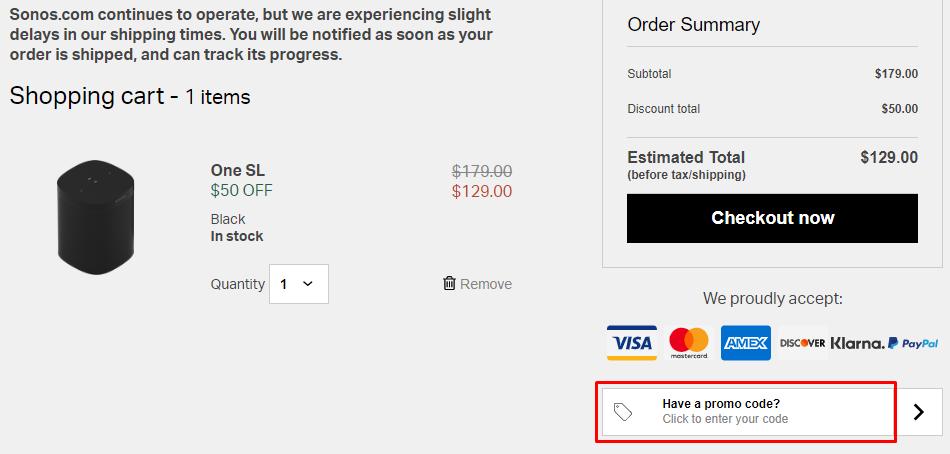 How do I use my Sonos coupon code?