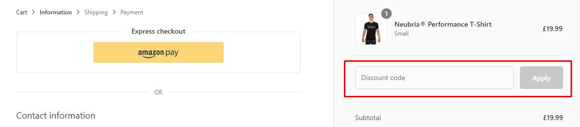How do I use my Neubria discount code?