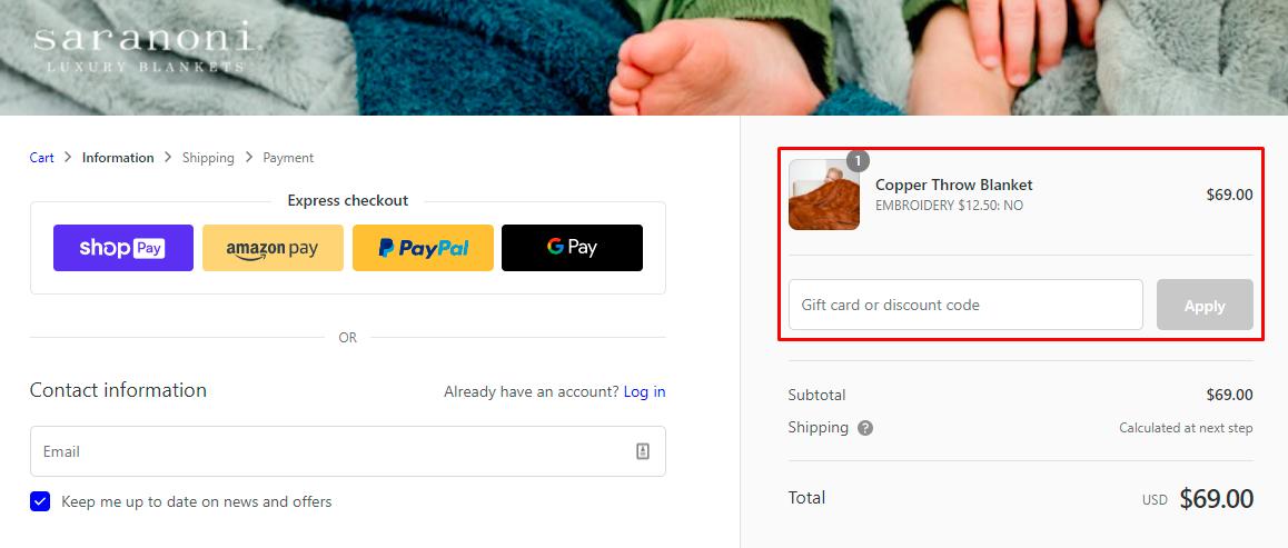 How do I use my Saranoni Luxury Blankets discount code?