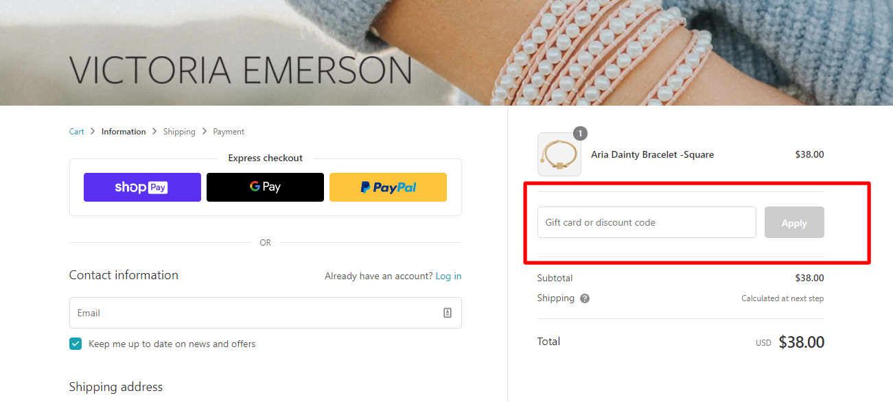 How do I use my VICTORIA EMERSON discount code?