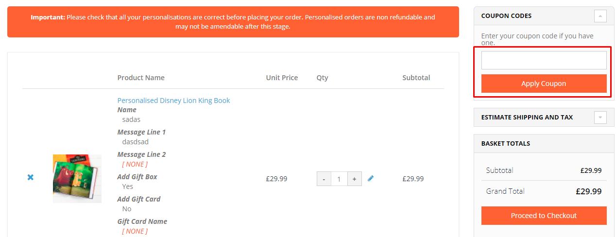How do I use my Personalise.co.uk coupon code?