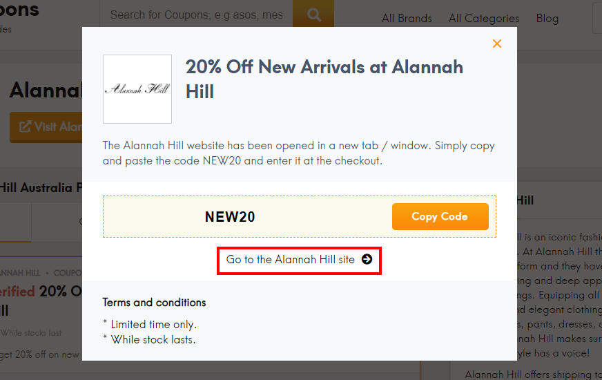 How do I use my Alannah Hill coupon code?