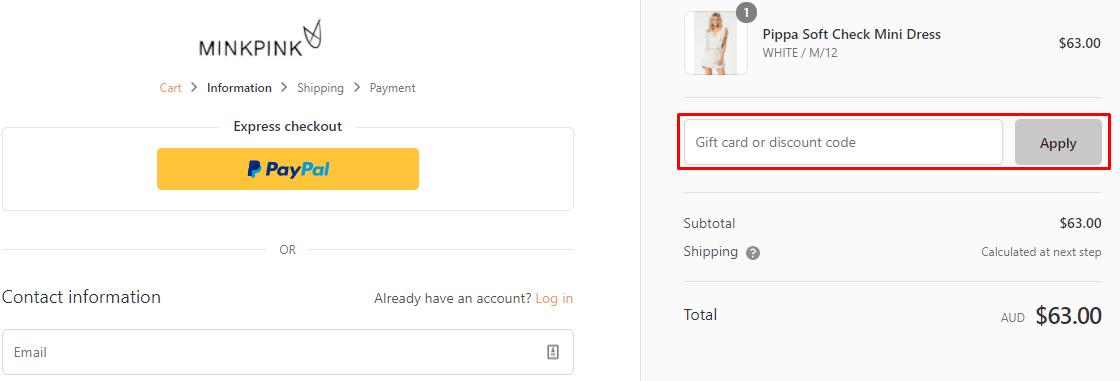 How do I use my MINKPINK discount code?