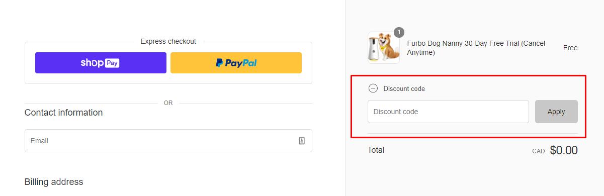 How do I use my Furbo Dog Camera discount code?
