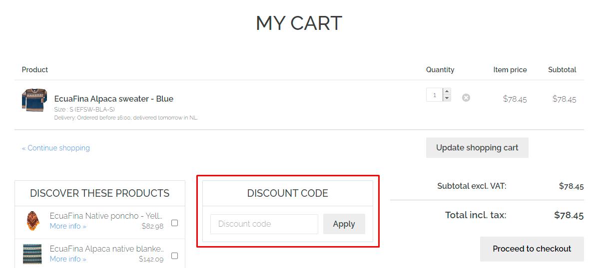 How do I use my EcuaFina discount code?