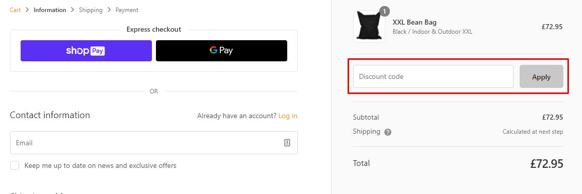 How do I use my Lumaland Beanbag discount code?