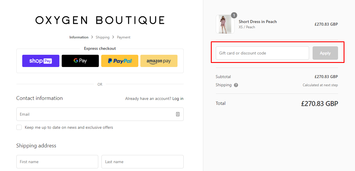 How do I use my Oxygen Boutique discount code?
