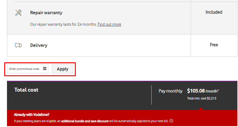 How do I use my Vodafone promotional code?
