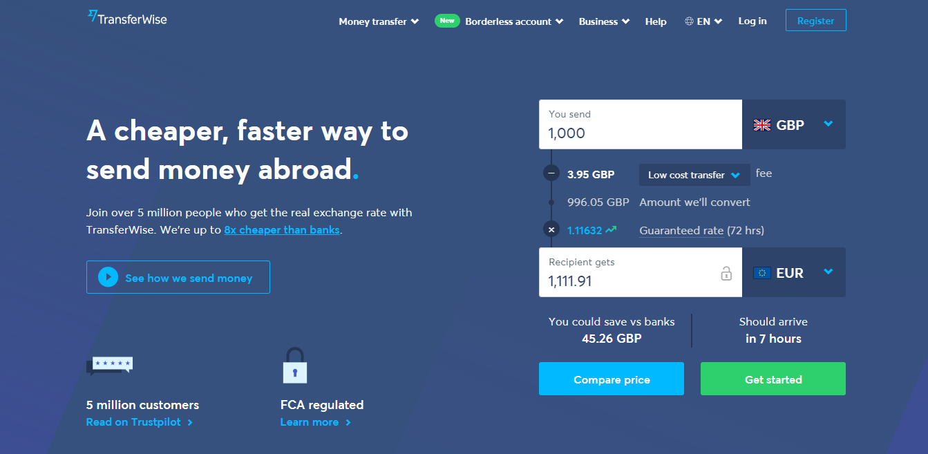 Wise (formally Transferwise) Homepage