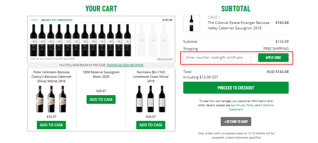 How do I use my Get Wines Direct voucher code?