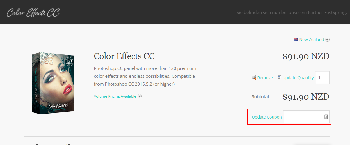 How do I use my Color Effects CC coupon code?
