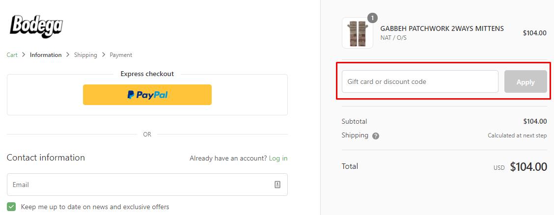 How do I use my Bodega discount code?