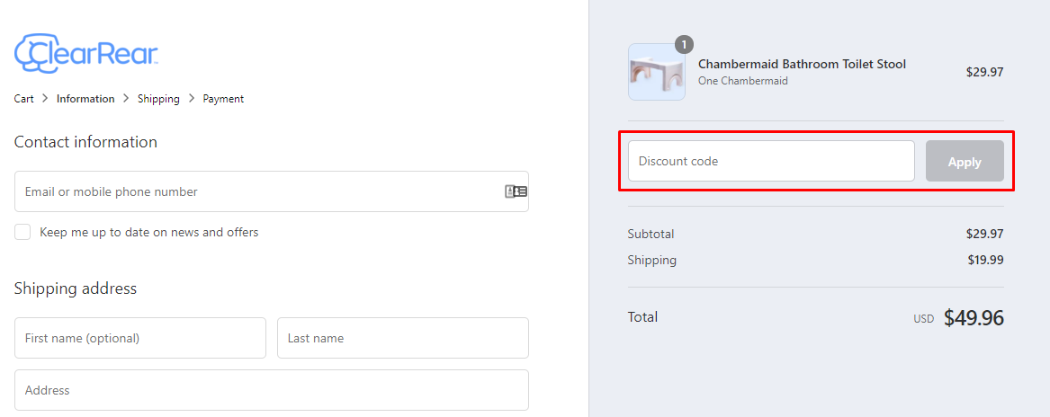 How do I use my Clear Rear discount code?