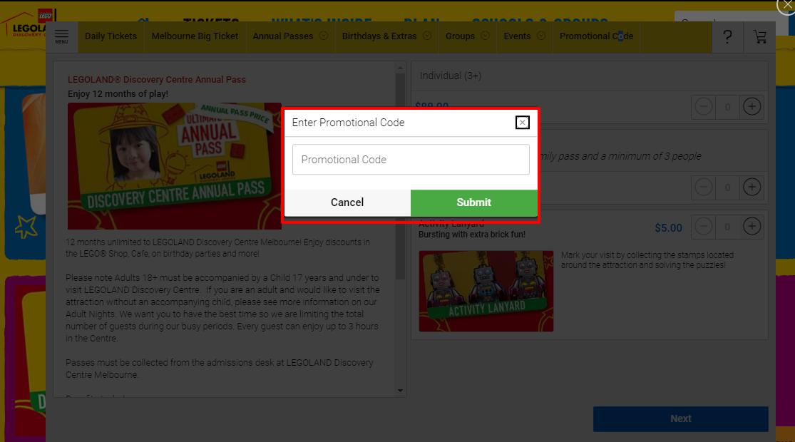 How do I use my LEGOLAND® Discovery Centre discount code?