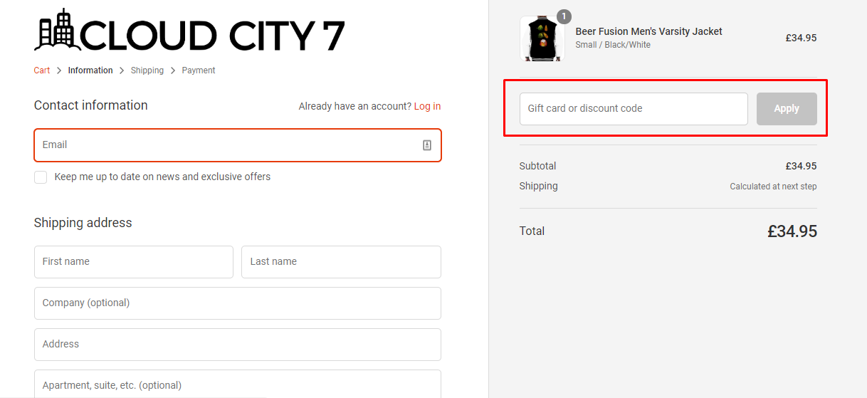 How do I use my Cloud City 7 discount code?