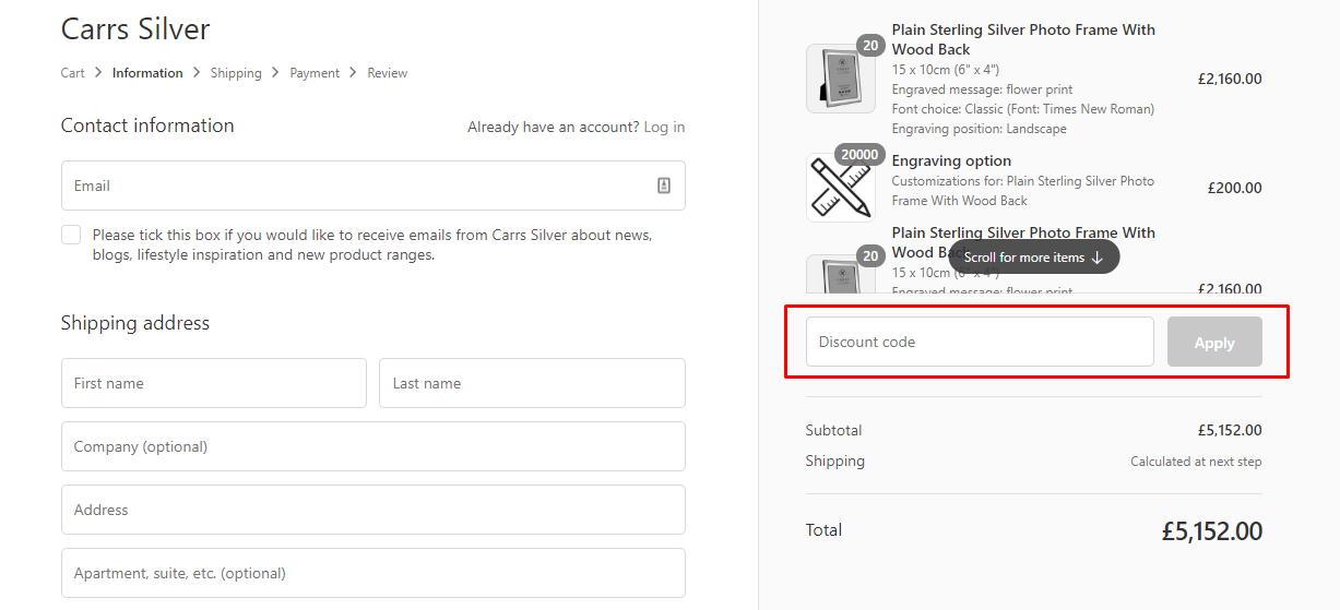 How do I use my Carrs Silver discount code?
