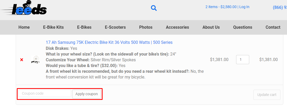 How do I use my Leeds Bike coupon code?