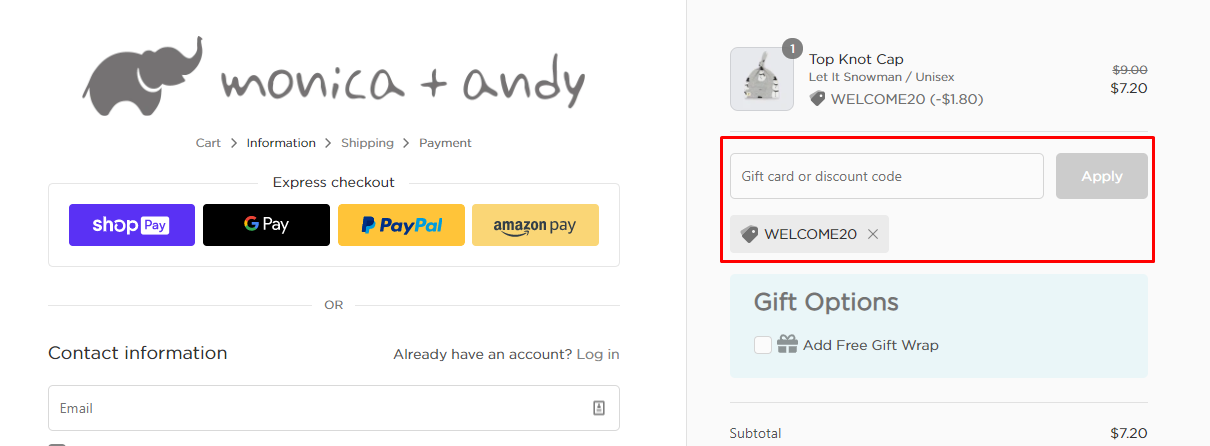 How do I use my Monica+Andy discount code?