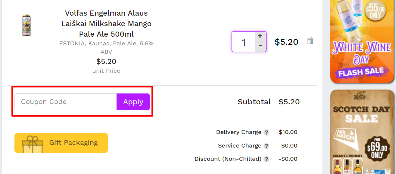 How do I use my AlcoholDelivery coupon code?
