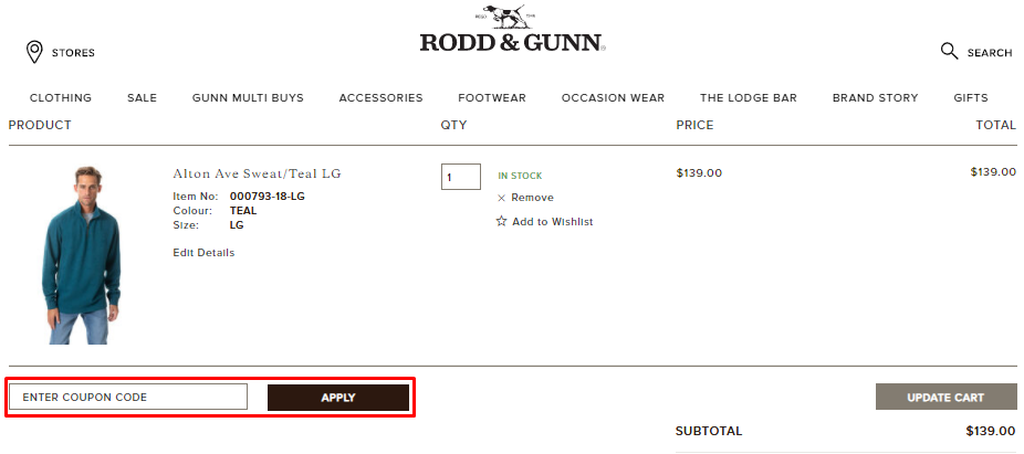 How do I use my Rodd & Gunn coupon code?
