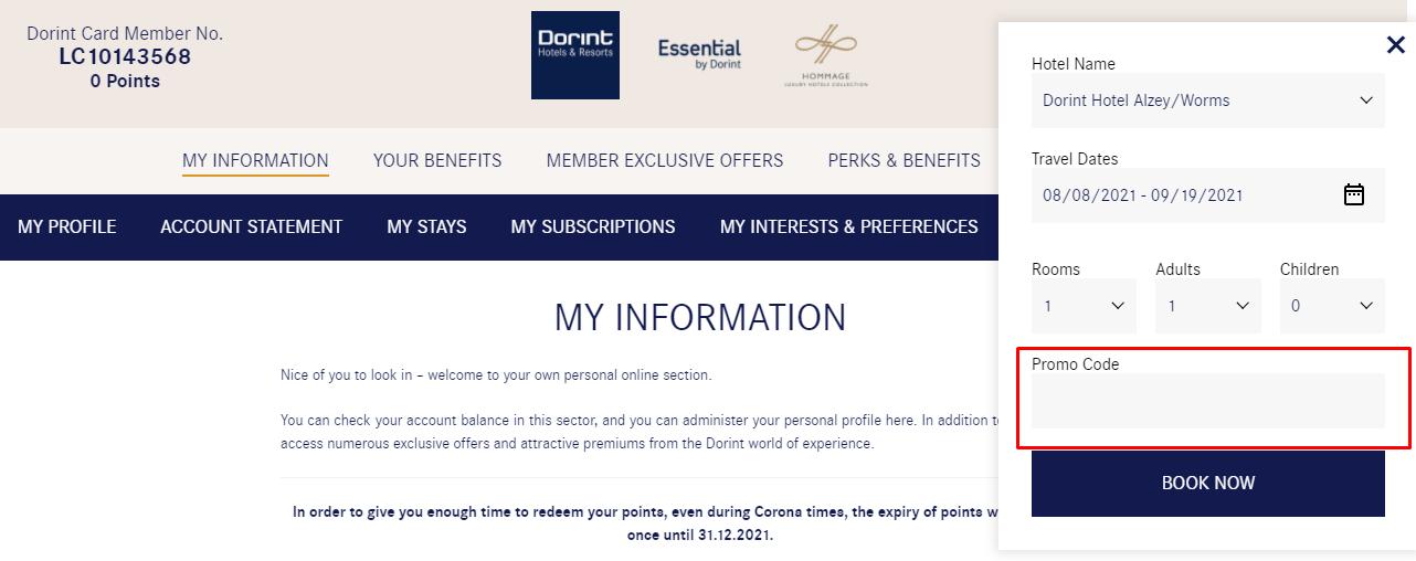 How do I use my Dorint Hotels & Resorts promo code?