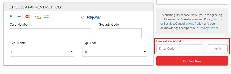 How do I use my Domain.com discount code?