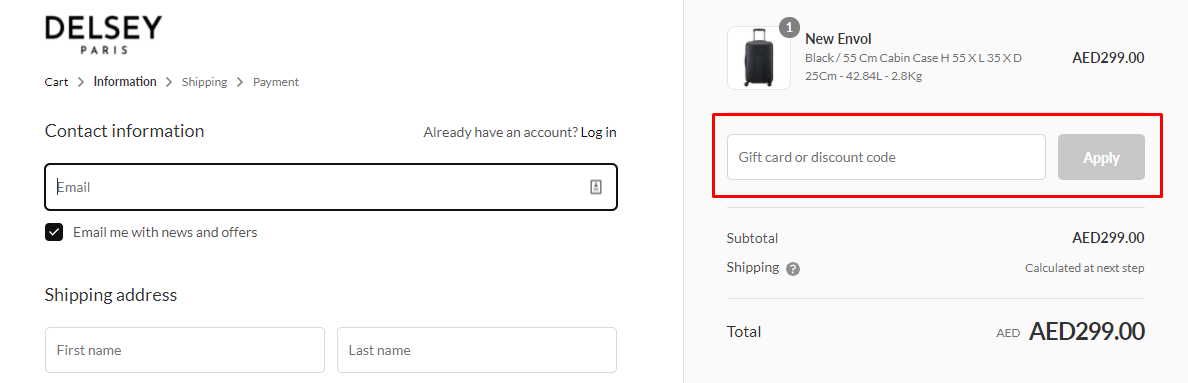 How do I use my DELSEY Paris discount code?