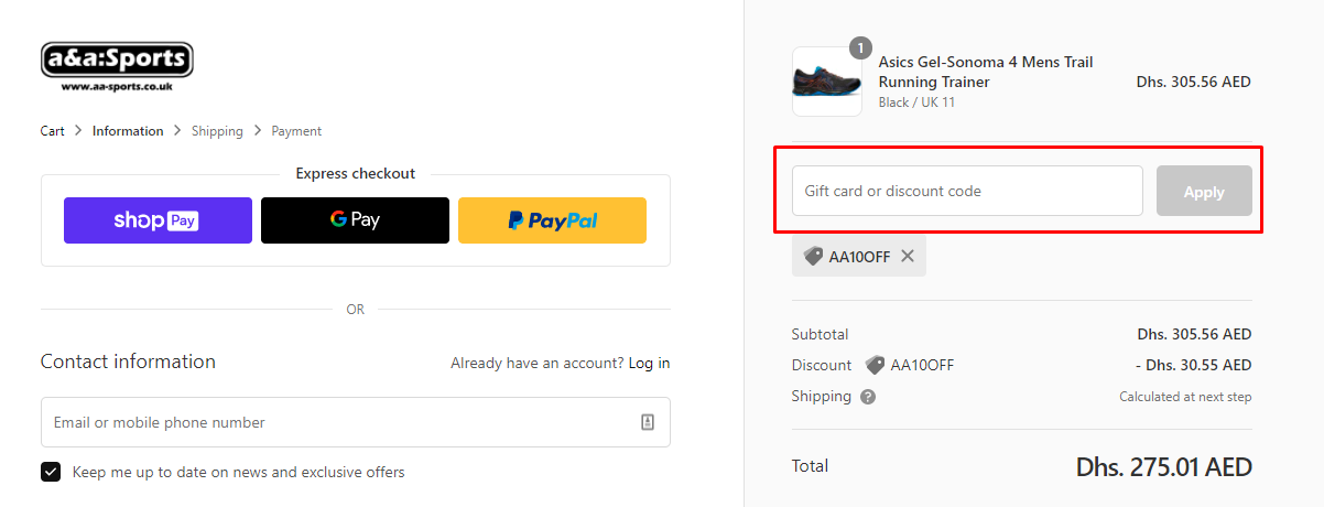 How do I use my A&A Sports discount code?